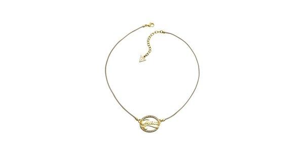 Dámsky zlatý náhrdelník s nápisom Guess