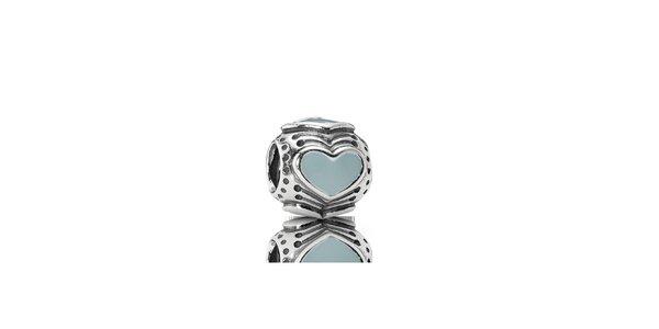 Strieborný prívesok Pandora s modrým srdcom
