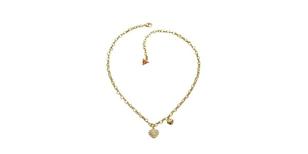 Dámsky zlatý kovový náhrdelník s príveskami sŕdc Guess