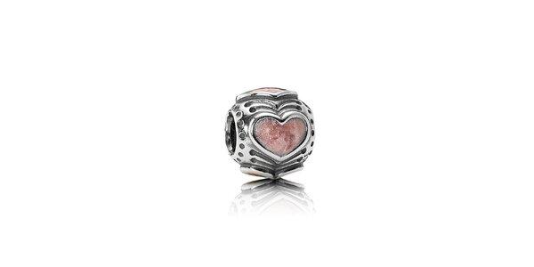 Strieborný prívesok Pandora s ružovým srdcom