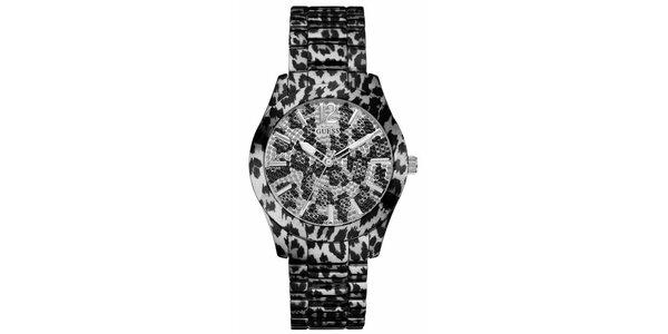 Dámske čierno-biele tigrované oceľové hodinky Guess