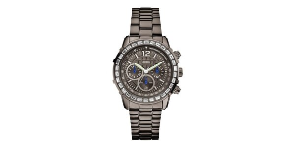 Dámske športové oceľové hodinky s kryštáľmi Guess