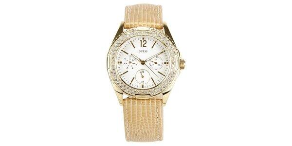 Dámske zlaté oceľové hodinky s kamienkami Guess