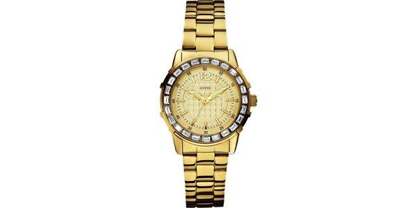 Dámske analógové hodinky v zlatej farbe Guess