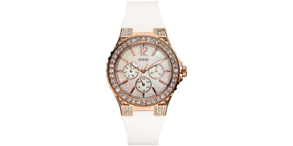 Dámske analógové hodinky s bielym remienkom Guess