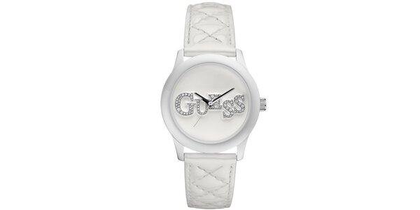 Dámske biele oceľové hodinky s trblietavým nápisom Guess