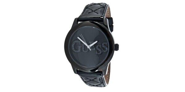 Dámske čierne oceľové hodinky s trblietavým nápisom Guess