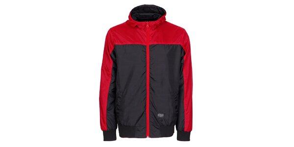 Pánska čierna športová bunda Chico s červenými detailami