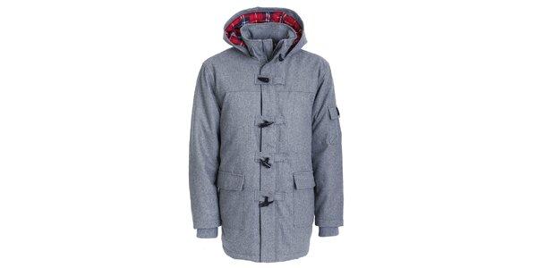 Pánsky šedý zimný kabát Chico s kapucou