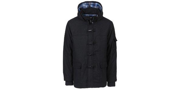 Pánsky čierny zimný kabát Chico s kapucou