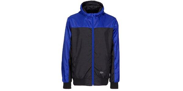 Pánska čierna športová bunda Chico s modrými detailami