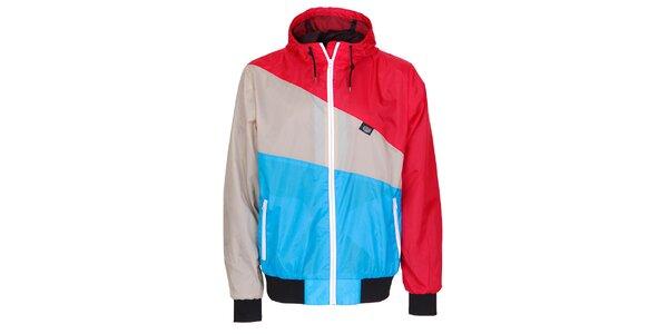 Pánska modro-červeno-šedá jarná športová bunda Chico