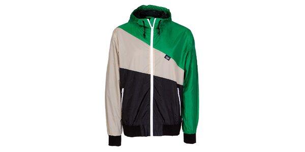 Pánska zeleno-čierno-šedá jarná športová bunda Chico