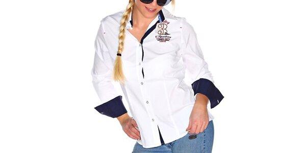 Dámska biela košeľa s prehnutým strihom M. Conte