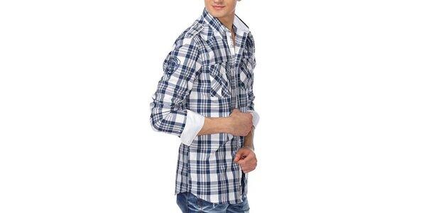Pánska modrobielo kockovaná košeľa M. Conte
