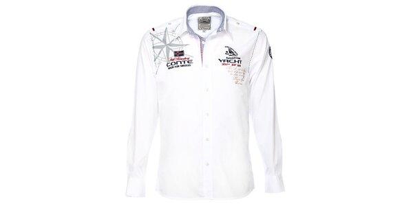 Pánska biela košeľa s jachtárskymi motívmi M. Conte