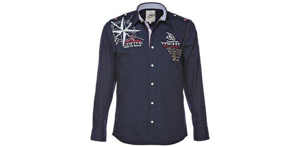 Pánska tmavo modrá košeľa s jachtárskymi motívmi M. Conte