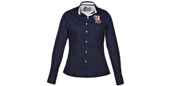 Dámska tmavo modrá košeľa s prehnutým strihom M. Conte