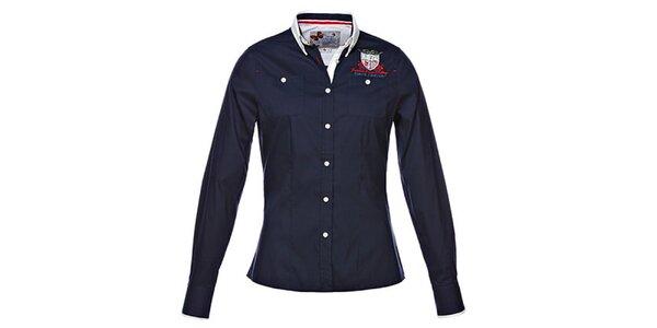 Dámska tmavo modrá košeľa s dlhým rukávom a výšivkou M. Conte