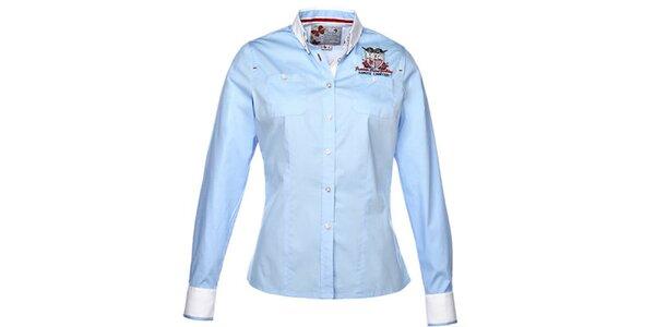 Dámska svetlo modrá košeľa s dlhým rukávom a výšivkou M. Conte
