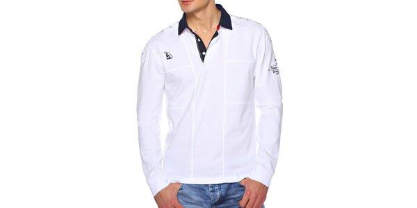 Pánske biele polo tričko s dlhým rukávom M. Conte