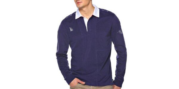 Pánske modré polo tričko s dlhým rukávom M. Conte