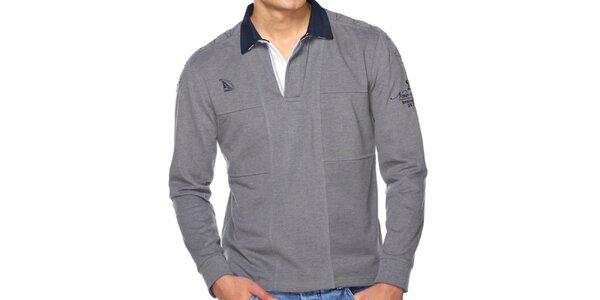 Pánske šedé polo tričko s dlhým rukávom M. Conte