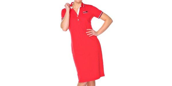 Dámske červené bavlnené šaty M. Conte s límčekom
