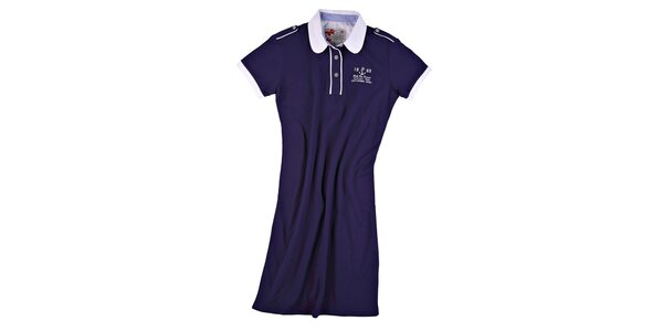 Dámske námornícky modré šaty s guľatým límčekom M. Conte