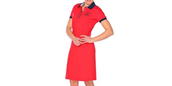 Dámske červené šaty s guľatým límčekom M. Conte