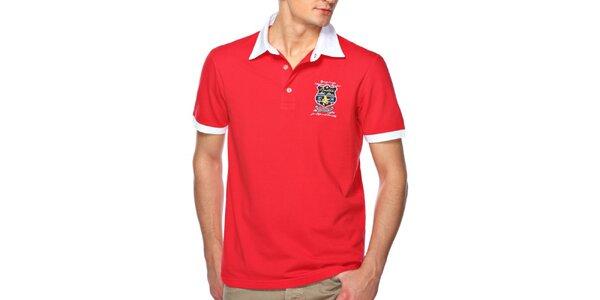 Pánske červené polo tričko s bielym límčekom M. Conte