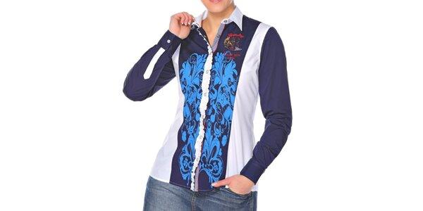 Dámska modro-biela košeľa so vzorom M. Conte