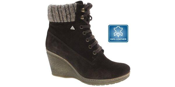 Dámske tmavo hnedé semišové topánky Beppi na vysokom podpätku