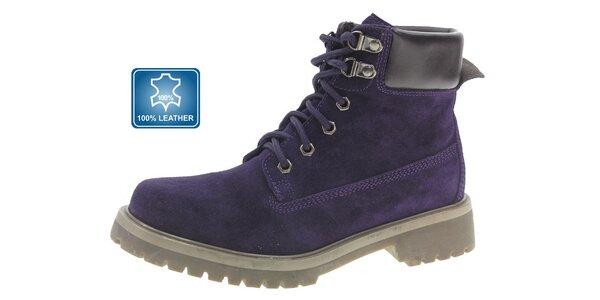 Dámske tmavo fialové semišové kotníkové topánky Beppi