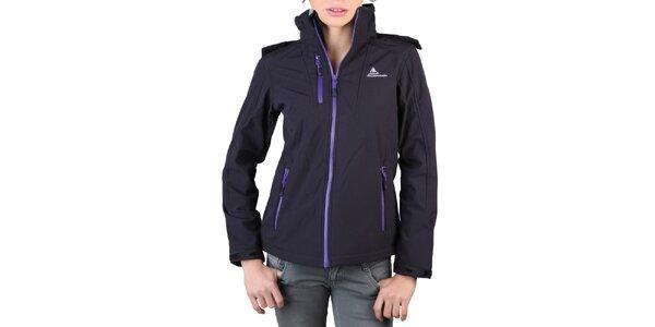 Dámska čierna bunda s fialovými zipsami Peak Mountain