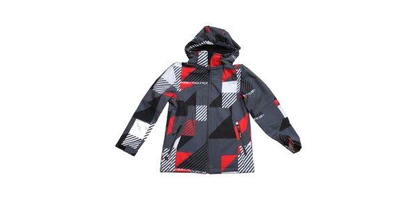 Detská šedo-červená vzorovaná bunda Peak Mountain