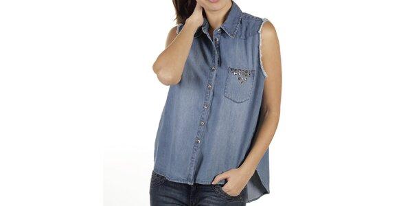 Dámska voľná džínsová košeľa bez rukávov New Caro