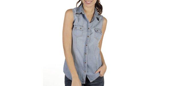 Dámska svetlá džínsová košeľa bez rukávov New Caro