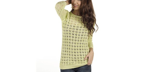 Dámsky žlto-béžový perforovaný sveter New Caro