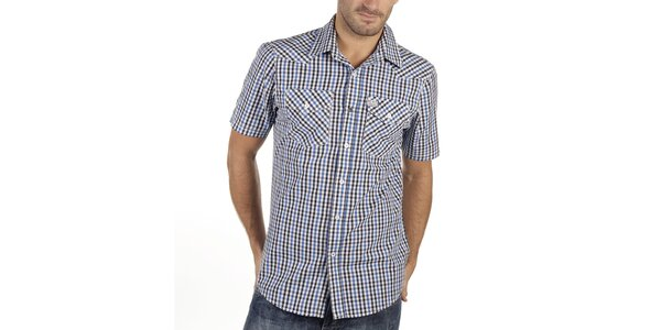 Pánska modro-čierno-biela kockovaná košeľa s krátkym rukávom New caro
