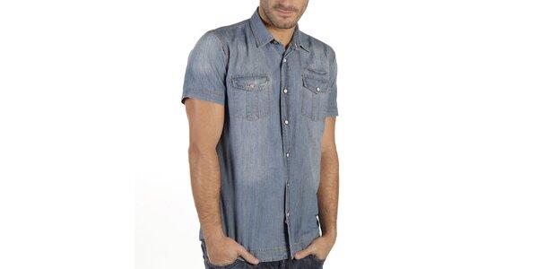 Pánska modrá denimová košeľa New Caro