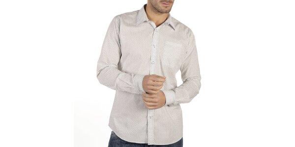 Pánska biela košeľa so vzorom New Caro