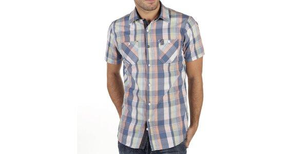 Pánska farebne kockovaná košeľa s krátkym rukávom New Caro