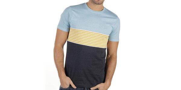 Pánske modré tričko so žltými prúžkami New Caro