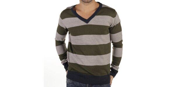 Pánsky šedo-zelený pruhovaný sveter s tmavými lemami New Caro