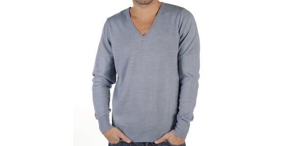 Pánsky modrošedý sveter s véčkovým výstrihom New Caro