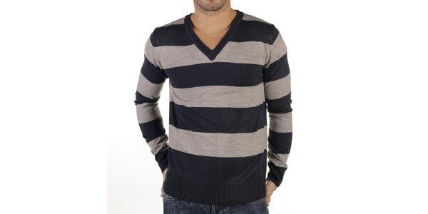 Pánsky pruhovaný sveter s rebrovaním New Caro