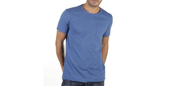 Pánske modré tričko s vreckom New Caro