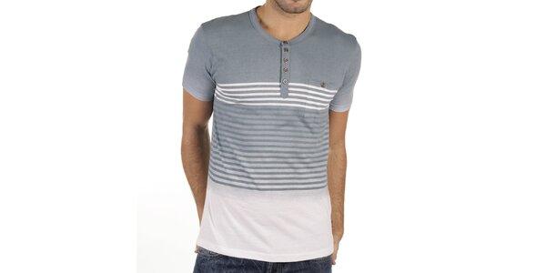 Pánske šedo-biele tričko s prúžkami New Caro