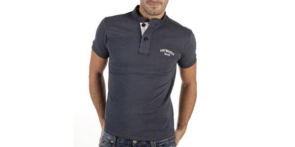 Pánske modrošedé tričko s gombíkmi New Caro